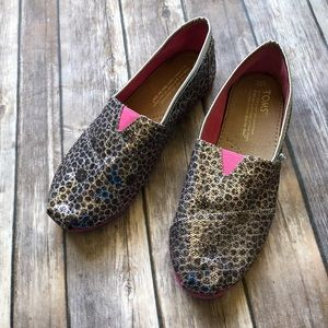 Toms Glitter Flats Youth Size 3.5